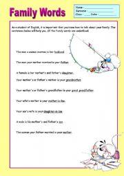 English worksheet: Family Words Poster
