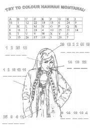 English Worksheet: TRY TO COLOUR HANNAH MONTANA following the numbers
