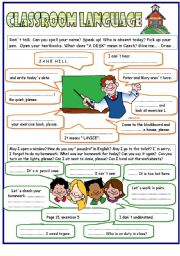 English Worksheet: Classroom language -  the key included