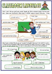 English Worksheet: Classroom language -  the key included