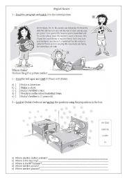 English Worksheet: Reading + Prepositions