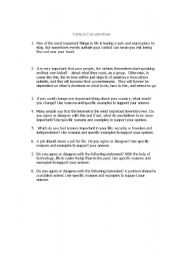 English Worksheet: Topics for writing