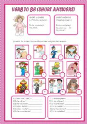 English Worksheet: SHORT ANSWERS ( VERB TO BE )
