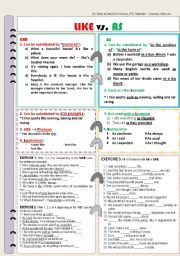 English Worksheet: Uses of AS and LIKE