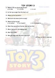English Worksheets: toy story 3 fifteen to thirty minutes