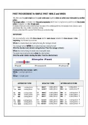 English worksheet: Past progressive Vs Simple past