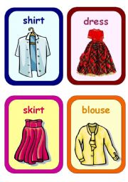 English Worksheets: Clothes Flashcards 1-5