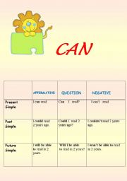 English worksheet: CAN     FORMATION