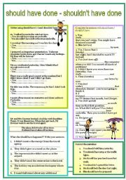 English Worksheet: SHOULD HAVE ..... -  past modal