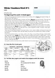 English Worksheet: Reading Comprehension Greek Legend