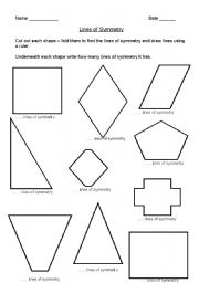 English Worksheets: Lines of symmetry