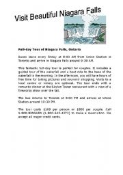 english worksheet niagara falls travel brochure. Black Bedroom Furniture Sets. Home Design Ideas
