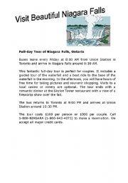 Niagara Falls Travel Brochure - ESL worksheet by Howdy