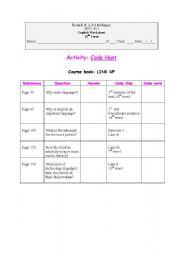 English Worksheets: Code Hunt