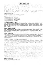English Worksheets: A Day at The Zoo