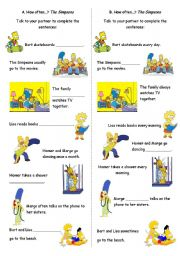 English Worksheet: HOW OFTEN - FREQUENCY WORDS AND ADVERBS - THE SIMPSONS