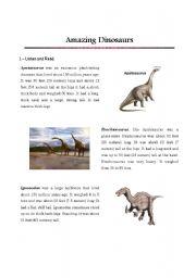 English Worksheets: Amazing Dinosaurs