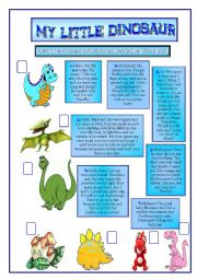 English Worksheets: MY LITTLE DINOSAUR.READING COMPREHENSION.
