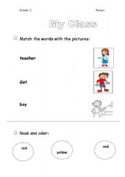 English worksheet: My Class