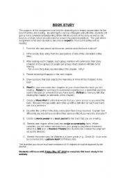 English Worksheets: Book Study Activities