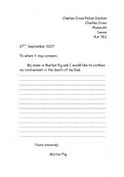 English Worksheets: Letter template - Martyn Pig