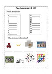 English worksheet: Revising 0-20