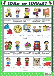 English Worksheets: WHO or WHICH?