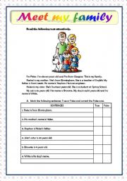 English Worksheets: MEET MY FAMILY - READING COMPREHENSION - BEGINNERS