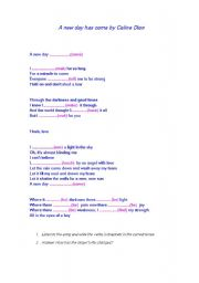 English Worksheets: A new day has come by Celine Dion