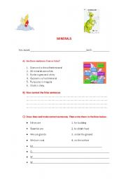 English Worksheets: Minerals