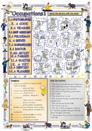 English Worksheets: Elementary Vocabulary Series 18 - Occupations1