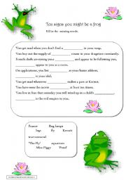 English Worksheets: Ten signs you might be a frog