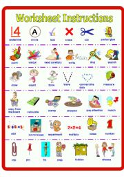 English Worksheet: Poster on Worksheet Instructions ** fully editable
