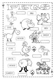 English Worksheets: How fast can you match up animals? PETS - 2 pages