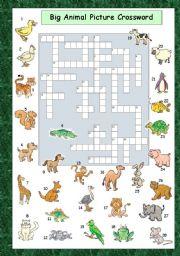 English Worksheets: Big Animal Picture Crossword