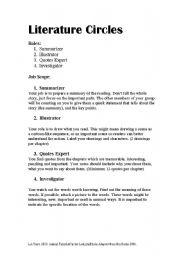 Literature Circle Esl Worksheet By Lynnelysia