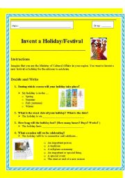 English Worksheets: Invent a New Festival / Holiday