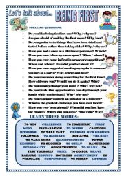 English Worksheets: LET�S TALK ABOUT BEING FIRST (SPEAKING SERIES 82)