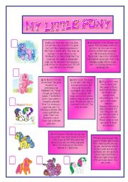 English Worksheets: MY LITTLE PONY.READING COMPREHENSION