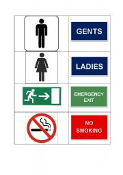 English Worksheets: Common signs