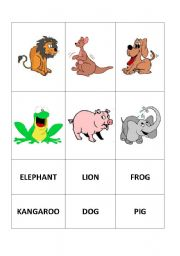 English Worksheets: Animals card part 1