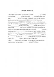 English Worksheet: Parts of Speech - Mad Libs Activity - Riding in a car