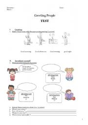 English Worksheets: Test for Greeting