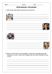 English Worksheets: movie activity - The Holiday