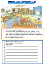 English Worksheet: What´s in the Living Room?