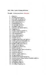Home > adjectives worksheets > Hink Pinks