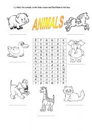 English Worksheets: Animals - Find the words