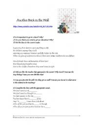 English Worksheet: Another Brick in the Wall (song)