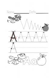 English Worksheets: Writing A Ant + Apple