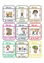 English Worksheets: Past Simple - Questions about the holidays: Did you... game (go fish)